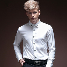 New 2017 Men Autumn Royal Prince Floral Slim Tuxedo Shirts Male Classic Casual Long sleeve Top shirts Clothing mens 14253(China)