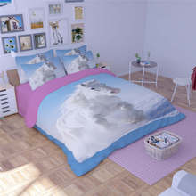 fantasy white horses 3d print quilt cover blue bedding sets for girls babys twin full queen