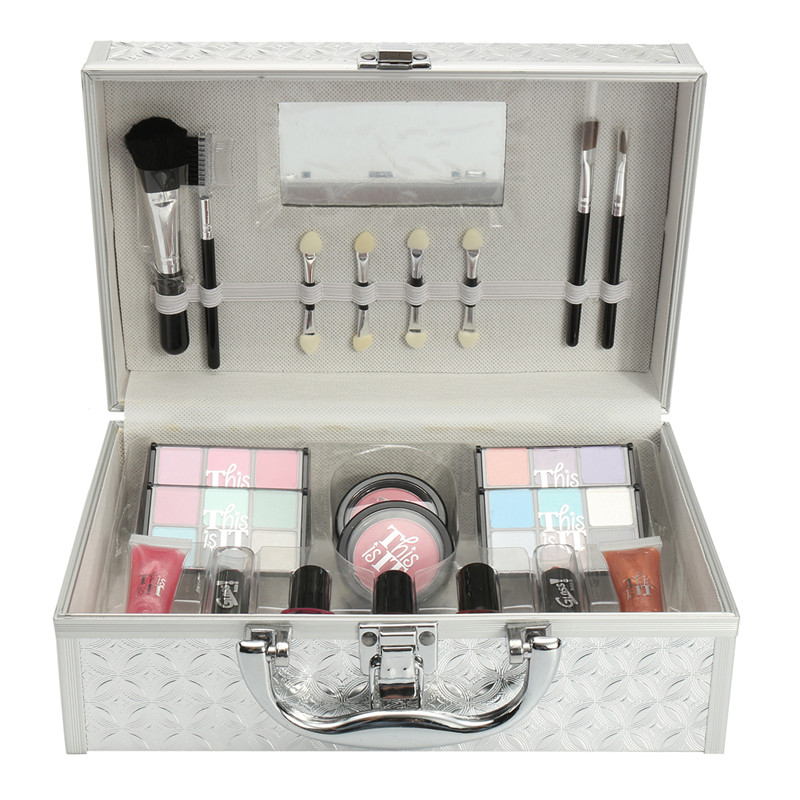 41Pcs/set Makeup Set Box Kit Eyeshadows Lipstick Blush Nail Polish Pencil Sharpener Makeup Brush Set Case Box Mixed Suit<br>