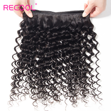Recool Hair Deep Wave Hair Extensions Indian Hair Remy Human Hair Weave Bundles 8-28inch  Natural Color 1B