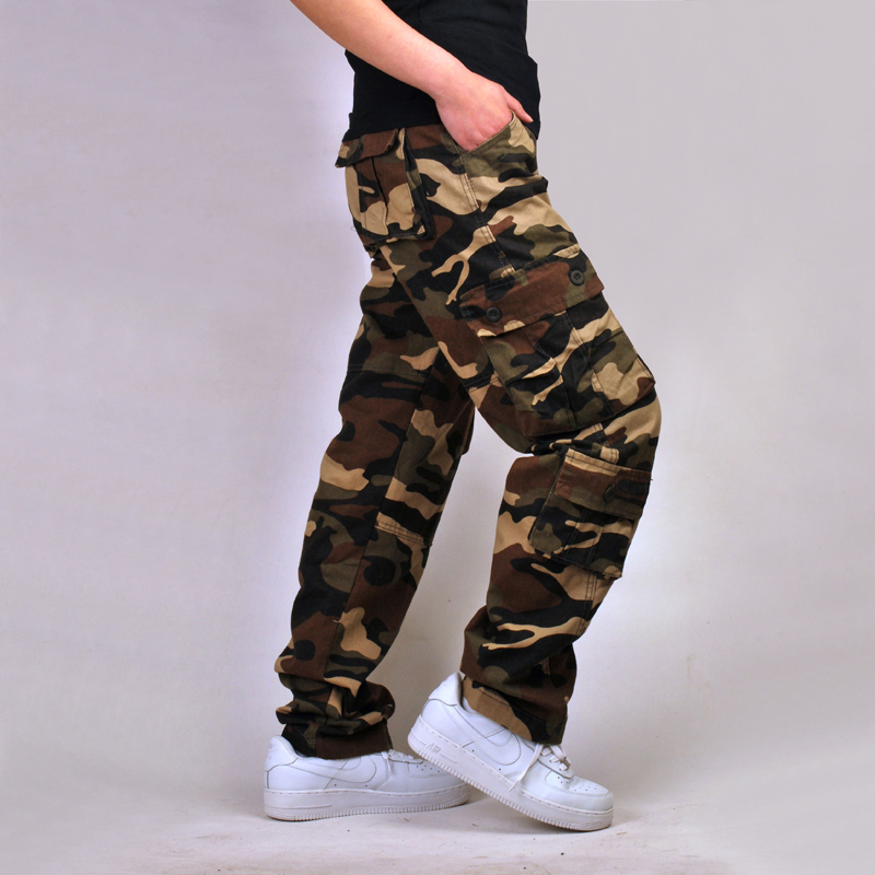 Tactical Multi-Pocket Overalls Loose Plus Size Cargo Pants Military Camouflage Style Full-Length 3 Colors Mens Casual TrousersÎäåæäà è àêñåññóàðû<br><br>