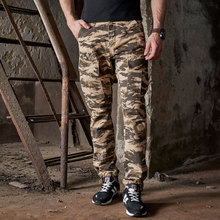 2017 Spring Autumn New Camo Pants Men Fashion Multi Pockets Loose Military Cargo - Another Half store