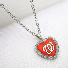 10pcs/lot Heart MLB Washington Nationals Necklace pendants With 50cm Chains Baseball Sports Necklace Jewelry Charms(China)