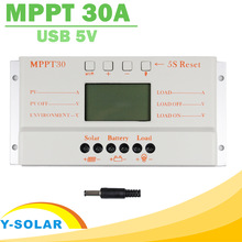 Solar Panel Controller MPPT 30A LCD Display 12V 24V Solar Regulator with Load Light and Timer Control for Max 50V Input Y-SOLAR