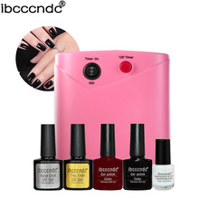 Simple Nail Art Set Manicure Tools Kit 36W UV Lamp + 2 Color 10ml Soak Off Gel Polish Base Top Coat Varnish with Liquid Palisade