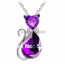 Fashion cat pendant crystal necklaces charms flash drilling necklaces jewelry for women LM-N056(China)