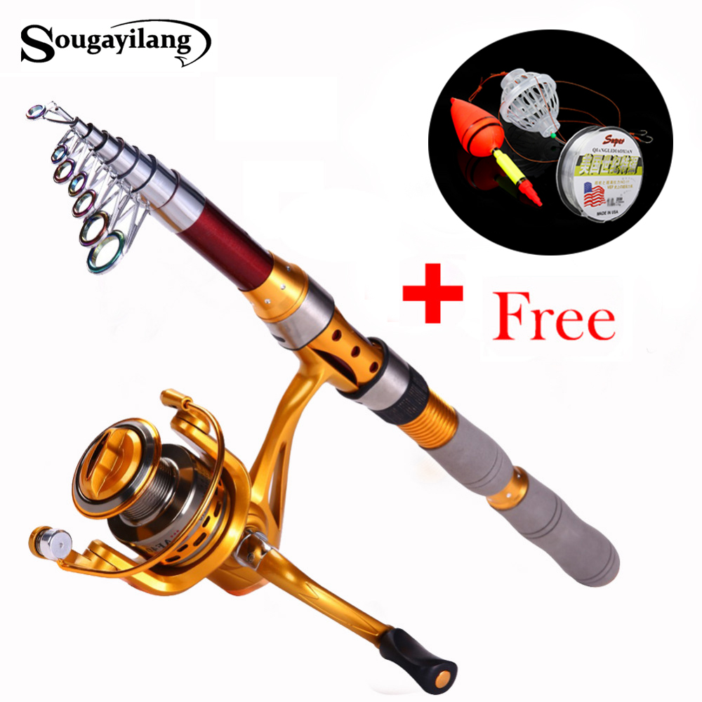 Sougayilang 1.8-3.0m Spinning Fishing Rod Telescopic Fishing Rod and 14BB Reel Set Olta Pole Carp Feeder Carbon Fishing Rods<br><br>Aliexpress