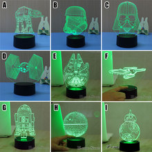 Night Light 3D Lamp Star Wars 3D Lights Children's nightlight USB Led Night Lights Robot 3D Led Lamp kids gift Luminarias