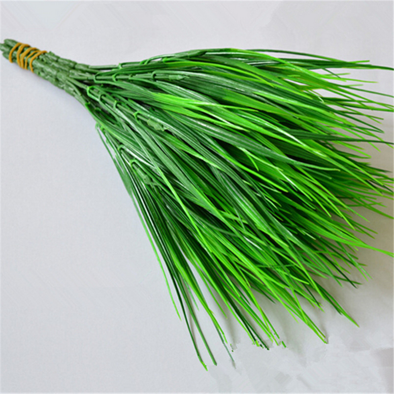 Hot Sale New 7 fork Green Grass Artificial Flowers Plants Plastic Flowers Household Decoration Party Home Room Decor(China (Mainland))