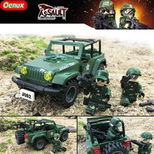 Oenux Military Vehicle The Jeep Wrangler Off-road Vehicle Model Building Block Military Soldier Figures Brick Toy For Boy's Gift