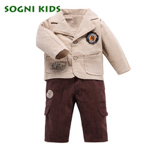 Baby Boys Blazer Single Breasted kids clothes Suits coat + Corduroy pants for enfant garcon boys clothing sets gentleman suit(China)