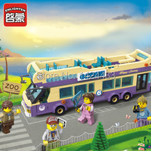 Low Price Enlighten City Series Sightseeing Bus Tourist 1123 Active Building Block DIY Assemble Brick Toy Gift For Collection