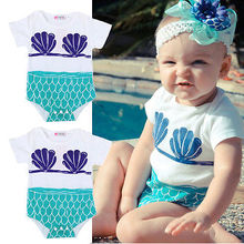 summer romper 2017 wholesale dropshipping newborn kid baby infant boy girl mermaid romper outfit clothes