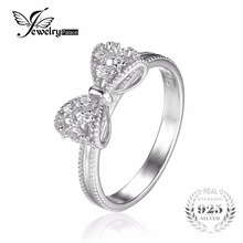 JewelryPalace Bow Cubic Zirconia Anniversary Wedding Ring For Women Soild 925 Sterling Silver Jewelry For Girl Party Friend Gift(China)