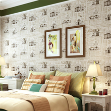 beibehang Europe and the United States retro to do the old newspaper American English letters wallpaper green paper wallpaper