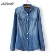 Winter Clothes Denim Shirt Women Clothing Vintage Jeans Shirt Womens Jeans Blusas Long Sleeve Casual Blouse Cowboy Shirt Spring(China)