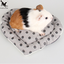 Anti-bite Small Pet Hamster Heart Shaped Mat Soft Short Plush Winter Warm Pet Guinea Pig Hedgehog Bed House Toys For Animals