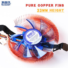 Pccooler  pure copper fins ultra-thin 33mm HTPC mini case all-in-one pc cpu cooling fan silent cooler radiator for AMD Intel