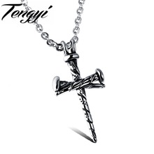Classic Necklace Stainless Steel Cross Men Necklace Fashion Nail Design Cool Jewelry Christmas Gift  TY997