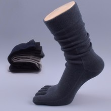 Mens Socks Top Quality Spring Autumn Cotton Five Toes Socks Breathable For Five Finger Shoes Black Gray Navy S4112(China)