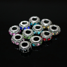 Crystal Rhinestone Beads 50pcs/lot Metal Alloy Big Hole Metal Charms Spacer Beads Fit European Bracelet DIY Making Jewelry Bead(China)