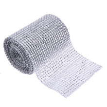 5 Yard Sparkle Mesh Trim Diamond Wrap Roll Rhinestone Silver Ribbons Wrapper Roll for Wedding Party Decoration(China)