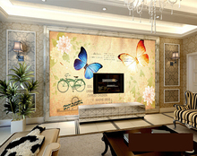 3d wallpaper custom mural non-woven wall sticker Europe and the United States retro nostalgia bike butterfly TV setting wall