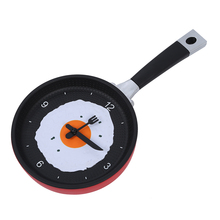 Frying Pan Clock with Fried Egg - Novelty Hanging Kitchen Cafe Wall Clock Kitchen - Red(China)