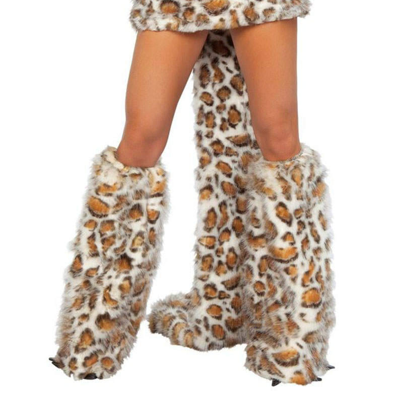 Women Leopard Outfit Fur Costume Party Fancy Halloween Hairy Wolf Hoodie Dress Cosplay Sexy Deluxe Frisky Animal Costume Brown (6)