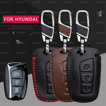 For Hyundai Santa Fe 2013 Car Styling Auto Key Cover Genuine Leather Remote Key Case For Hyundai Grand Santa Fe 2015 Accessories(China)