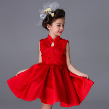High End Red cheongsam Girls Dresses Long Sleeve Princess Wedding Dress Teenage Wear Kids Clothes Evening party Girls Dress YL16