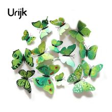 Urijk 12Pcs/Set PVC 3D Multi Color Butterfly Shape Wall Stickers DIY For Home Decoration TV Background Kids Bedroom Wall Decals(China)