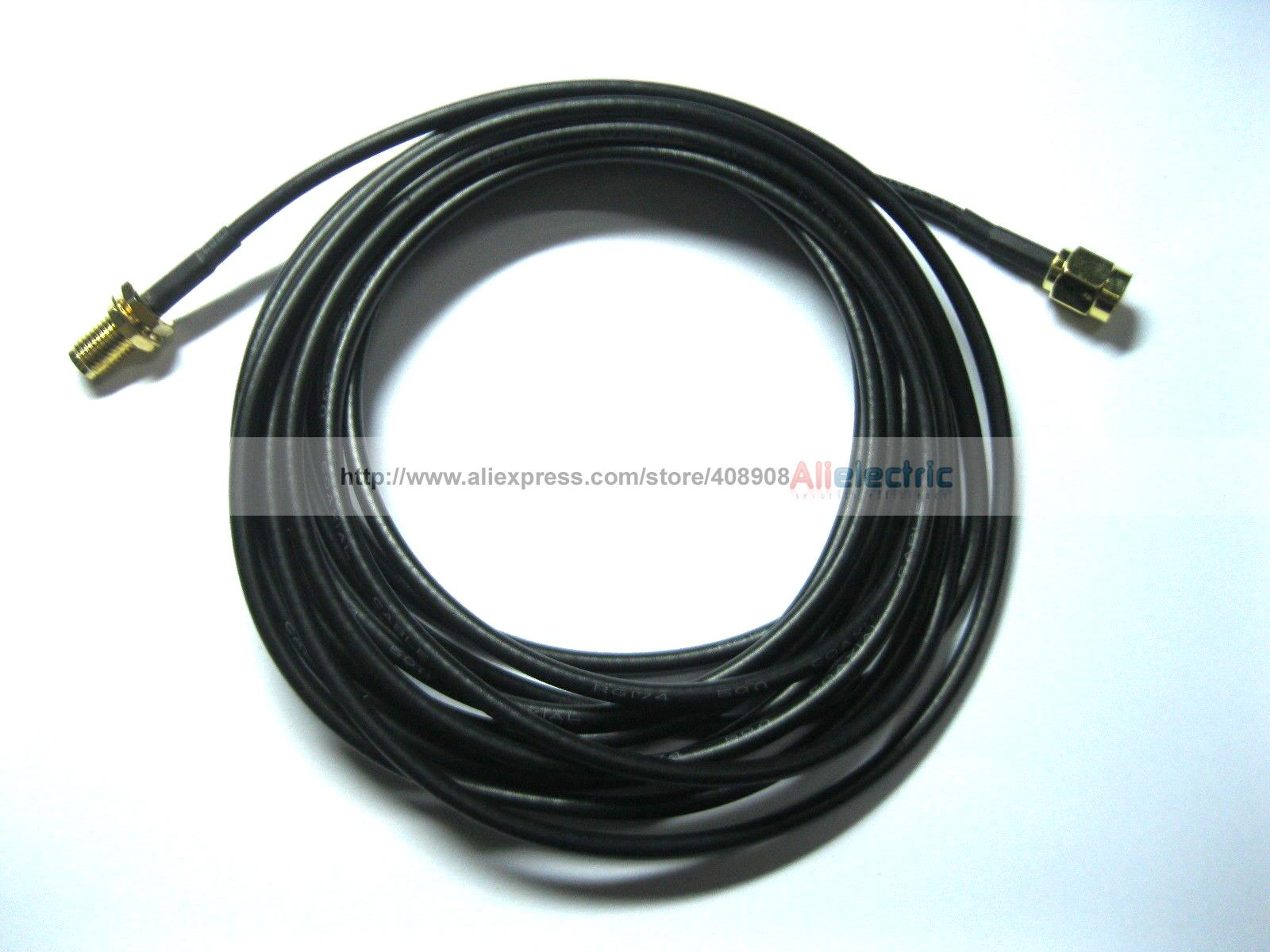 5 Pcs 3M Antenna RP SMA Coaxial Cable for WiFi Router Black 300cm <br>