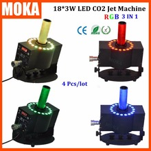 4Pcs/Lot dmx RGB led jet co2 machine fog co2 jet machine led co2 spray smoke with stage effect