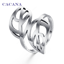CACANA Stainless Steel Rings For Women With Double Leaf Fashion Jewelry Wholesale NO.R143