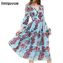 High Quality Designer Runway Dresses Women Spring Boho People Mexican Dress New Fashion Flowers Print Chiffon Dress H0014(China)