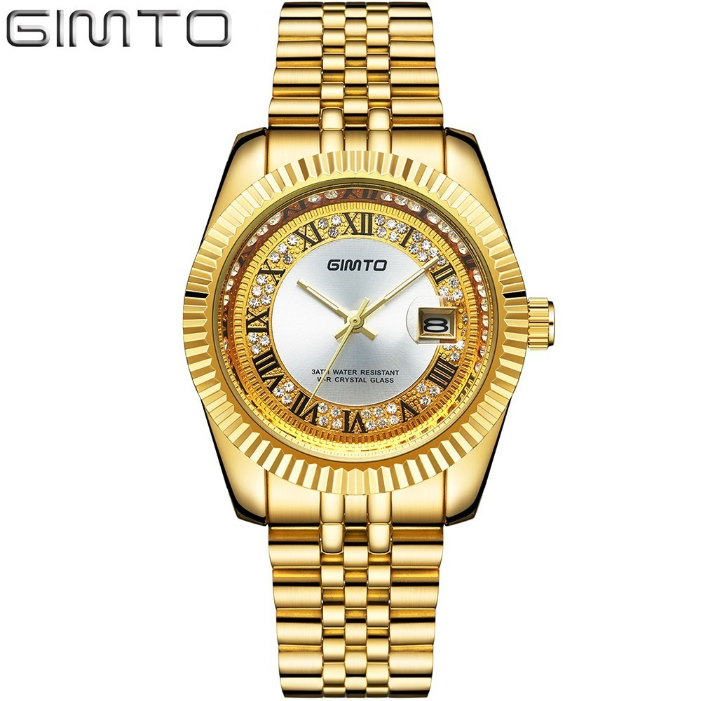 GIMTO Top Brand Man Watches Luxury Antique Gold Watch Men Quartz 30m Waterproof Mens Watches Stainless Steel Roman Caredar Clock<br>
