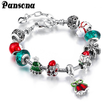 Alloy Crystal Authentic Silver Charms Beads Bracelets Fit European Bangle Christmas Gift for Womens and Girls(China)