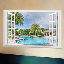 Hot DIY Summer Swimming Pool Wall Sticker PVC Decor 3D View Home Mural Decoration