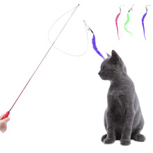 Cat Funny Toys Pet Dog Cat Catcher Teaser Toy Feather Wand Stick Pet Kitten Jumping Training Supplies Free Shipping(China)
