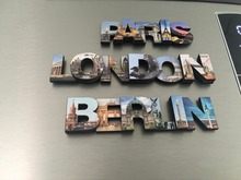 City Name Letters MDF Wooden Magnets,Laser cutting,Quality Print,2 layers of 3D designs,Paris,London,Berlin Travel Souvenirs(Hong Kong)