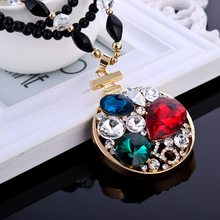 2017 New Unique Crystal High Quality Perfume Bottle Long Pendants Trendy Jewelry Necklaces Women Accessories for Gift Party