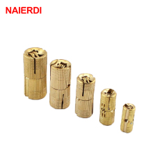 NAIERDI 4PCS Diameter 18mm Copper Barrel Hinges Cylindrical Hidden Cabinet Concealed Invisible Brass Door Hinges For Hardware