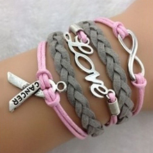 Braided Multilayer Infinity Wish Love Breast Cancer Awareness Charm Bracelet