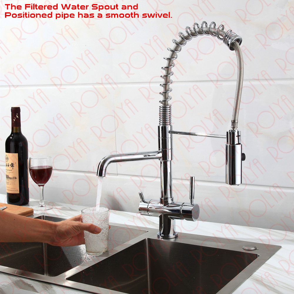 Rolya 3 way kitchen faucet with spring hose 6