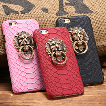 Retro Style Lion Head Knocker Model case High quality snake Skin phone cases for iphone 5 5S/6S/6Plus hard shell covers coque