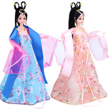 1pcs Girls Barbie Dolls 30cm Chinese Traditional Ethnic Doll with Dress Princess Toys For Girl Birthday Christmas Gifts Presents(China)