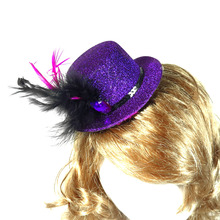Top hat on Hair clip  50% off for 3pcs elegant design purple princess birthday bridal shower feather fun event party supplies
