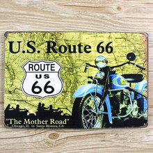 "SYF-270 About "" route 66 road USA motorcycle "" Retro vintage Metal tin signs  plaque Painting home decor wall art craft  20x30cm"