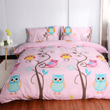 Owl Bedding Sets size 2/3Pcs Duvet Cover Set For USA Europe,4-7 Pcs Bed Linens Sheet Set For Russia bedclothes Pink(China)